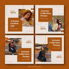 Autumn season sale instagram post bundle... | Premium Psd #Freepik #psd Media Design, Ad Design, Flyer Design, Layout Design, Design Ideas, Social Media Template, Social Media Graphics, Ad Layout, Layouts