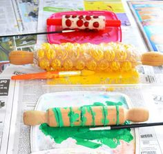 DIY Rolling Pin Handmade Holiday Gift Wrap for Kids