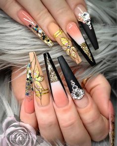 Spectacular Nail Design Ideas To Try Asap - Nail designs or nail art is a very simple concept - designs or art that is used to decorate the finger or toe nails. They are used predominately to en. Fancy Nails, Bling Nails, 3d Nails, Matte Nails, Stiletto Nails, Pretty Nails, Acrylic Nails, 3d Nail Designs, Acrylic Nail Designs