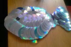 Recycle Cds...Big fish art! Kid art