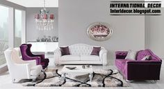 modern luxury living room furniture purple and white sofas and chairs