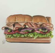 My draw for subway sandwich Watercolor Food, Watercolor Paintings, Sandwich Drawing, Food Illustrations, Illustration Art, Subway Sandwich, Food Sketch, Food Painting, Art Courses