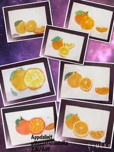Appelsiinit pölypastelliliiduilla. 2.lk/AHP