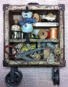 Configurations Box by Richele Christensen featuring Tim Holtz Alterations dies. Altered Tins, Altered Art, Tim Holtz, Mixed Media Boxes, Altered Canvas, Arts And Crafts, Paper Crafts, Packaging, Assemblage Art