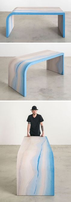 Designer Fernando Mastrangelo has created the Escape Collection, a group of modern furniture pieces, like this desk, that are made using hand-dyed sand and silica to create simple forms that look like a three-dimensional landscape painting.