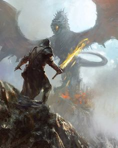 Stephen facing the Dragon from Seven Devils. || dragon hunter by ~lingy-0 on deviantART