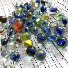 50 colourful fun vintage glass marbles.