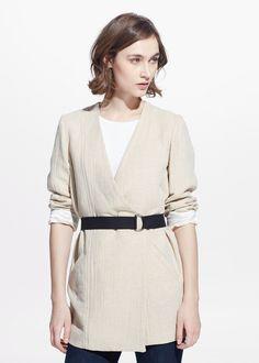 Wrap linen-blend coat