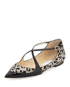 d04489402928e Gamble Crisscross Ballerina Flat with Leopard-Print Calf Hair by Jimmy Choo  at Bergdorf Goodman