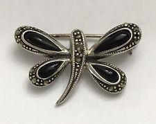 Vintage Butterfly Dragonfly Sterling Silver Pin Brooch Designer Signed
