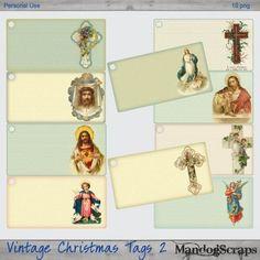 Vintage Christmas Tags 2  BONUS printable sheet included