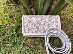"""Hand-Tooled Leather, Small Crossbody & Clutch, """"PETIT"""" by ALLE, more Colors"""