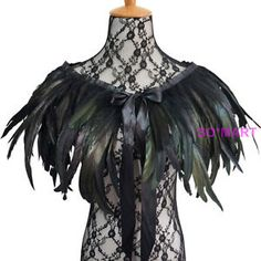 DIY Inspiration- Black Green Feather Hand made Collar Cape Shawls Wrap for party evening dress