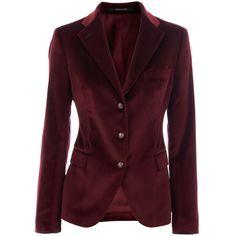 Tagliatore 0205 Bordeaux Velvet Blazer Francesca via Polyvore