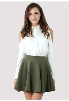 White Cut Out Shoulder Tail Shirt  #Chicwish