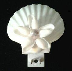 Beach Decor White Seashell Night Light White by ToksTreasures