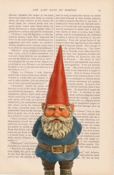 christmas dictionary art vintage Lawn GNOME by ExLibrisJournals, $7.00