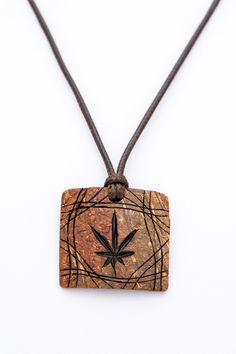 """ON SALE Gift for him art pendant """"SATIVA"""" from Coconut Shell ethno orange pendant natural hand carved handmade jewelry wood carving coconut - $17.50 USD"""
