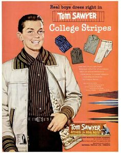 """Back to school wear for """"real boys"""", august 1957"""