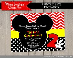 Personalized 5x7 Mickey Inspired Invitation / by DivinePartyDesign, $7.00. Printable DIY.