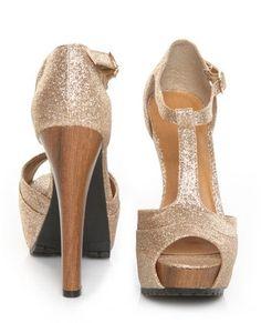 Qupid Saydie 25 Champagne Glitter Gold T Strap Platform Heels - $35.00 - StyleSays