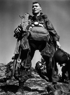 Robert Capa 1945  March 23rd, Arras. An American Parachutist preparing to board the plane for the jump accross the Rhine River