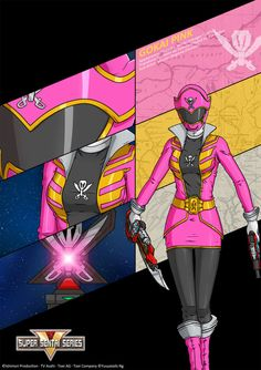 """This is the This art featuring Gokai Pink (ゴーカイピンク) from """"Kaizoku Sentai Gokaiger"""" Thanks to for the Gokaiger symbol on the background. Power Rangers Wild Force, Mighty Power Rangers, Pink Power Rangers, Desenho Do Power Rangers, Power Rangers Megaforce, Power Rengers, Kamen Rider Zi O, Bat Family, Teen Titans"""