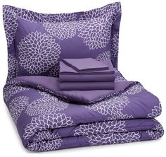 AmazonSmile: AmazonBasics 5-Piece Bed-In-A-Bag - Twin/Twin XL, Purple Floral: Bedding & Bath