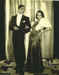 """Margot Webb and Harold Norton performed on the Afro-American vaudeville circuits of night clubs and theaters in the Northeast and the Midwest during 1933 - 1940s. Known professionally as"""" Norton and Margot,"""" they were one of the few Afro-American ballroom. This publicity photo was signed """"To the sweetest Aunt in the world, My Marion, Lovingly Margot, 1934""""."""