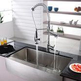 """Found it at AllModern - 35.88"""" x 20.75"""" Farmhouse Kitchen Sink with Faucet and Soap Dispenser I"""