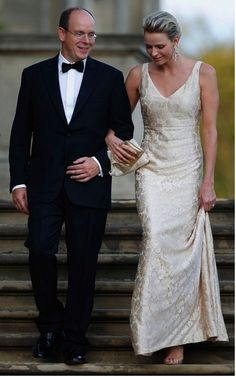 Princess Charlene of Monaco ivory lace dress