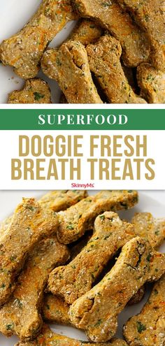 Our healthy dog treats and dog food recipes are made with ingredients that are nutritious and loved by dogs. Superfood Doggie Fresh Breath Treats are made with six superfoods and nothing more! Dog Cookie Recipes, Easy Dog Treat Recipes, Homemade Dog Cookies, Dog Biscuit Recipes, Homemade Dog Food, Dog Recipes, Cookies For Dogs, Healthy Recipes, Diy Dog Treats