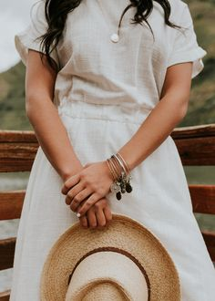 White Linen Dress with Pockets   ROOLEE