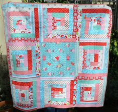 Red and turquoise quilt