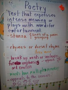 A real-kids poetry chart--it's obvious that the kids are working on this with the teacher! Great way to encourage ownership & gradual release of responsibility. Teaching Poetry, Teaching Language Arts, Teaching Writing, Teaching Ideas, Poetry Anchor Chart, Writing Anchor Charts, 1st Grade Writing, 3rd Grade Reading, Poetry Unit
