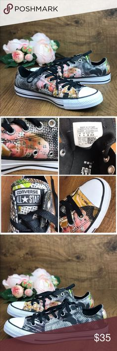 NWT Converse 💥Digital Floral Black LT W AUTHENTIC Brand new, with no lid box. 🔥Price is firm!🔥 No trades.  Size 8,5-no box  Rubber sole Signature Chuck Taylor All Star rubber toe box, textured toe bumper, contrast side-wall trim, medial side air vent holes Floral canvas upper Converse Shoes Sneakers