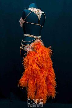 Doré Designs | Nude & Orange Latin w/Fringe Boas