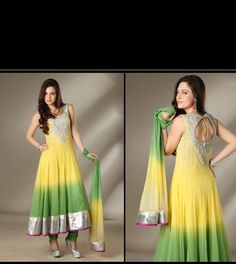 Yellow & Green Anarkali Salwar Kameez - Indian Suit