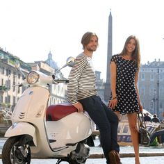 Vespa Primavera 150- Off white with italia red leather seat. And look, that is obviously Shon and I enjoying a day in Rome. Take a test drive at Vespa Seattle, so fun!
