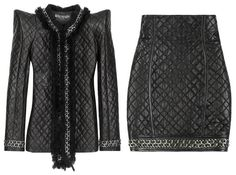 Balmain quilted leather power suit