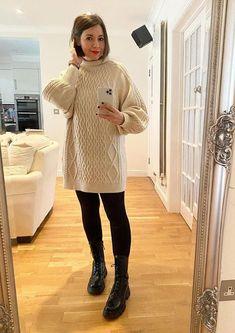 Nikki in a turtleneck sweater dress | 40plusstyle.com Turtleneck Outfit, Black Turtleneck, Kate Spade New York, Monochrome Outfit, How To Wear Leggings, Long Vests, Animal Print Dresses, Blazer, Wide Leg Pants
