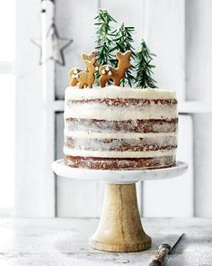 Hazelnut and brandy forest cake with cream cheese icing Want to bring a fun, festive treat to Christmas this year? Try Donna Hay's hazelnut and brandy forest cake with cream cheese icing recipe. Xmas Food, Christmas Sweets, Christmas Cooking, Noel Christmas, Holiday Baking, Christmas Desserts, Holiday Treats, Christmas Cakes, Magical Christmas