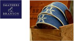 Smathers & Branson Needlpoint belt, white trim