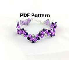 PDF-file Beading Pattern Half Moon Bracelet by HoneyBeads1Official