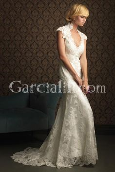 Princess Sweep/Brush Train Lace Wedding Gown