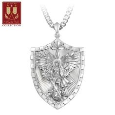 Stainless steel pendant features shield-inspired dog tag design with sculpt of St. Michael defeating Satan. Cross; engraved sentiment. Gift box.