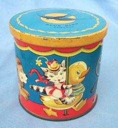 1950S MERRY GO ROUND TIN - BLUE BIRD TOFFEE - 3.5 inch