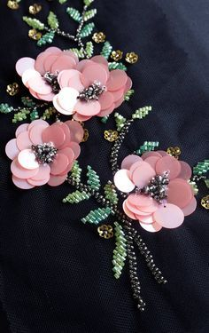 Embroidery Designs Hand-made motif with pink sequins flowers and beaded leaves Tambour Embroidery, Bead Embroidery Patterns, Hand Work Embroidery, Couture Embroidery, Bead Embroidery Jewelry, Silk Ribbon Embroidery, Embroidery Fashion, Hand Embroidery Designs, Embroidery Stitches