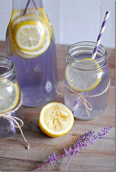 Lavender Lemonade    2 cups water  1/2 cup sugar  1/4 cup agave nectar (or honey)  3 Tbsp dried lavender  2 cups freshly squeezed lemon juice  4 cups water  1 lemon, sliced (for garnish)
