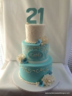 Elegant Teal & White 21st Birthday Cake - Kyrsten's Sweet Designs | Custom Designed Cakes and Cookie Favors